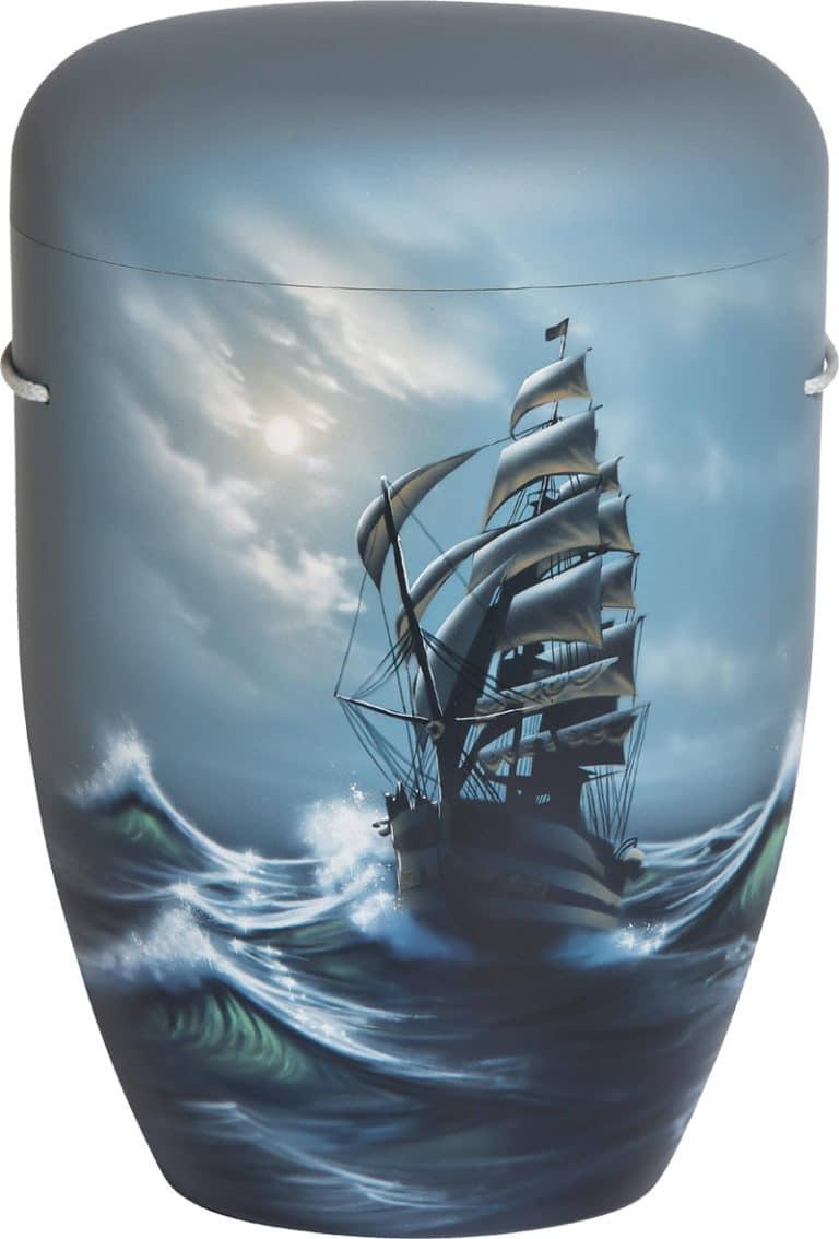 Urne mit Segelschiff Motiv Airbrush