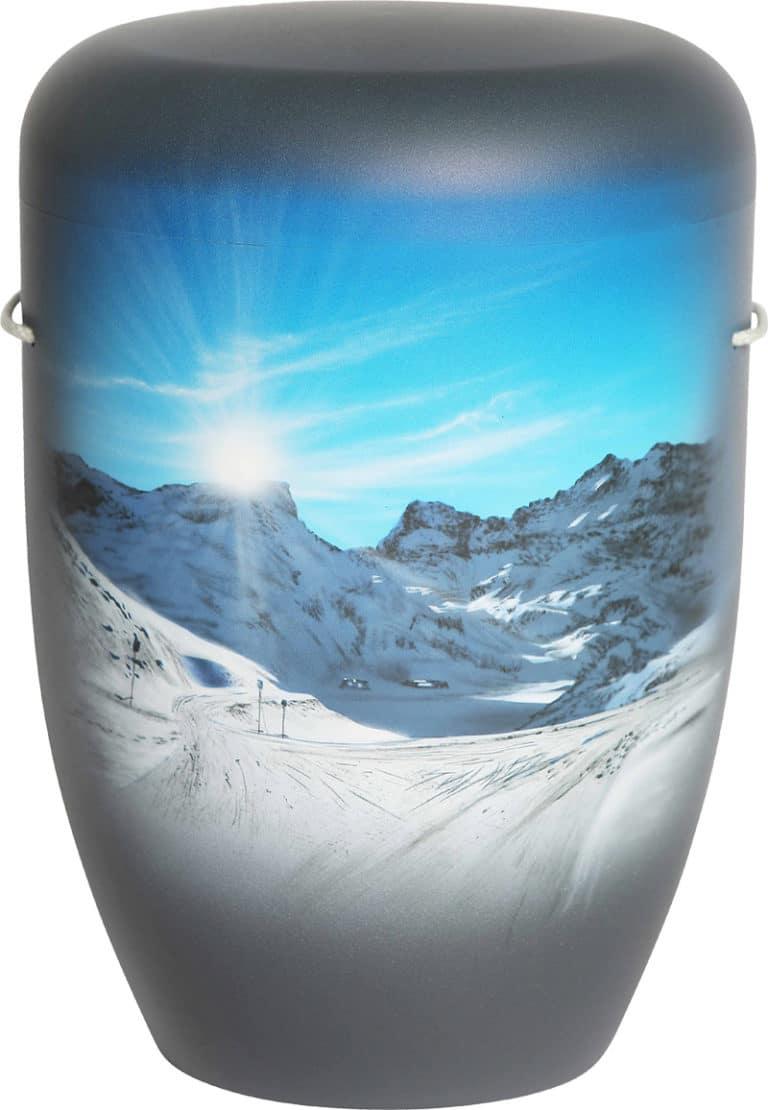 Bergpanorama auf Urne