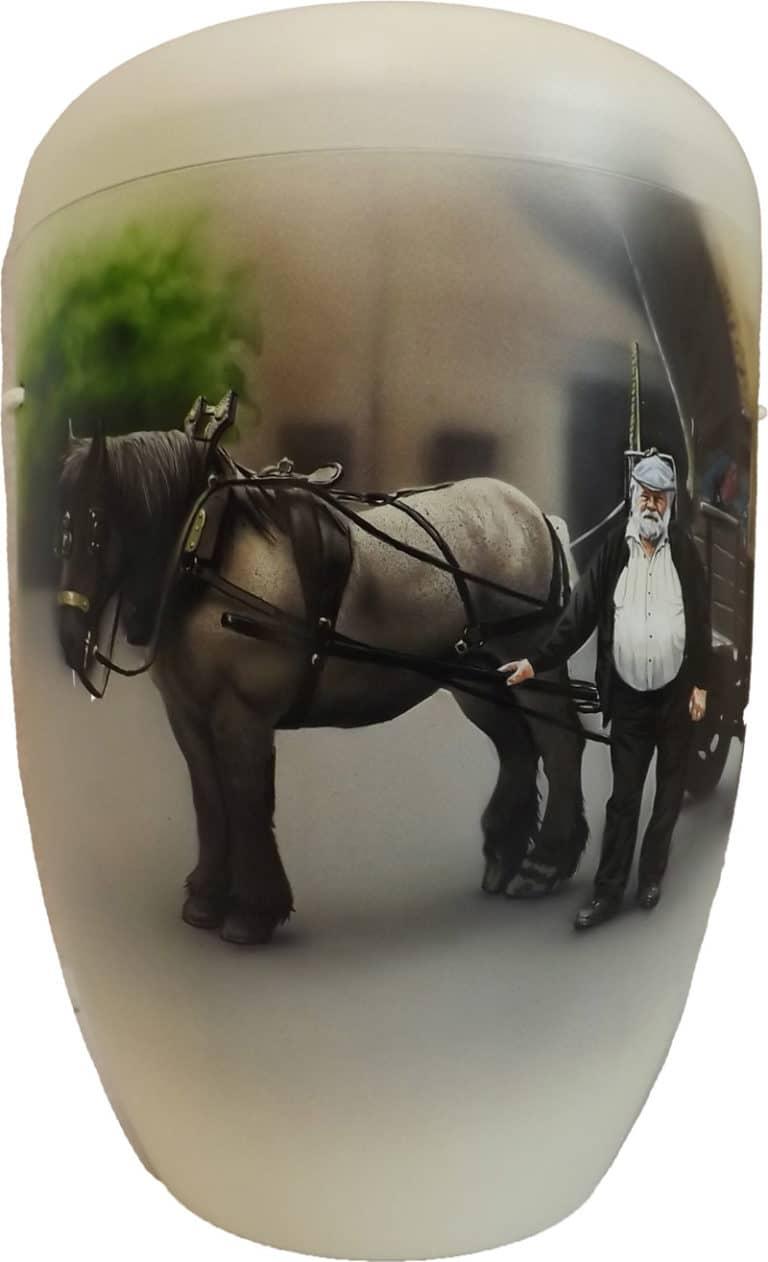 Wunschurne Planwagengespann Kutscher mit Pferd